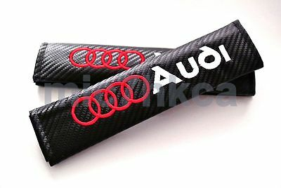 2x Carbon Fibre Car Seat Belt Cushion Shoulder Cover Pads For AUDI (UK Stock) • 8.99£