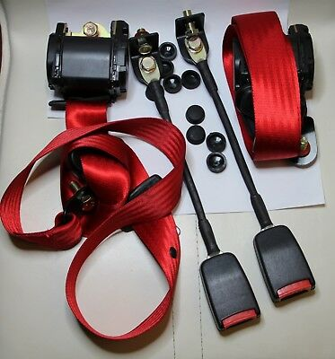 Classic Fiat 500 / Fiat 126 / Mini Front Seat Belt 3 Point Automatic Kit Red • 99.90£