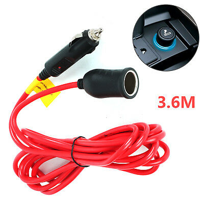Car 12V 3.6M Cigarette Lighter Extension Cable Lead Charger Power Socket Adapter • 5.59£