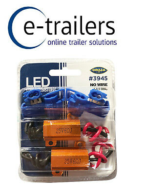 Pair Of Load Resistors To Stop Pulsing On Trailer LED Lights 12v 25W GWAZA 3945 • 12.75£