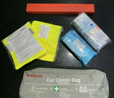 Nissan Note Micra Juke Qashqai Car Combi Bag First Aid Saftey Kit With Vests New • 4.89£