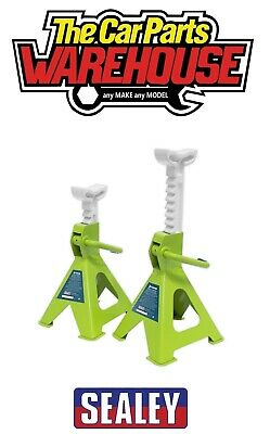 Sealey VS2002HV GREEN Axle Stands Pair 2 Tonne / Ton Capacity Each Ratchet Type • 29.95£
