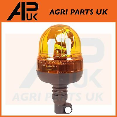 NEW Rotating Flashing Amber Beacon Flexible DIN Pole Mount Tractor Warning Light • 17.81£