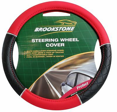 Brookstone Steering Wheel Cover Black And Red Leather Look • 8.99£