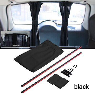 2pcs Adjustable Car Window Mesh Interlock Curtain UV Sunshade Visor Cover Black • 9.49£