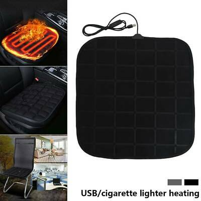 Heated Car Seat Cover FRONT Black Universal Pad Thermal CUSHION Warmer USB UK • 13.69£