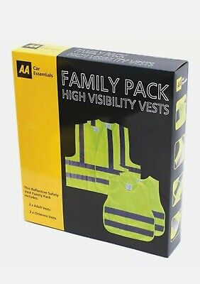 High Visibility Safety Vests  AA Family Pack X 2 Adults & 2 Children's Vests • 4.99£