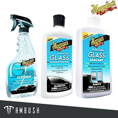 Meguiar's Perfect Clarity Glass Cleaning Kit Cleaner Polishing Compound Sealant • 39.99£