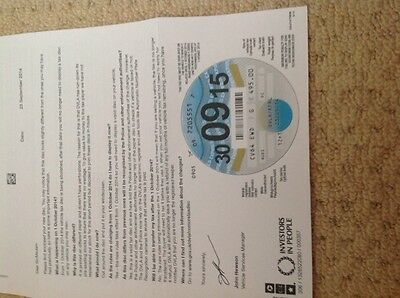 Car Tax Disc Very Rare 30/09/15 On Unperforated Paper Last One Ever • 450£