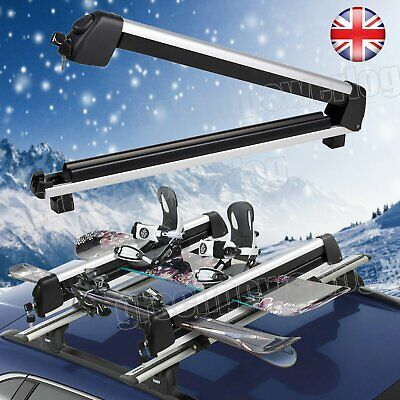Modern Car Roof Rack Ski And Snowboard Carrier For 2 Or 4 Skis Snowboards Mount • 63.42£