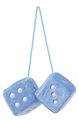 Sumex Blue & White Soft Fluffy Furry Car & Home Hanging Mirror Spotty Dice #30 • 4.99£