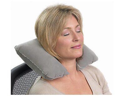 Grey Inflatable Comfort Neck Support Travel Cushion Pillow For Car Plane TV Home • 1.99£