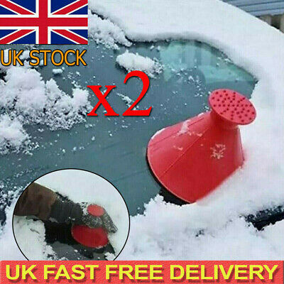 2X Magical Car Windshield Ice Snow Remover Scraper Tool Shaped Round Funnel Cone • 5.60£
