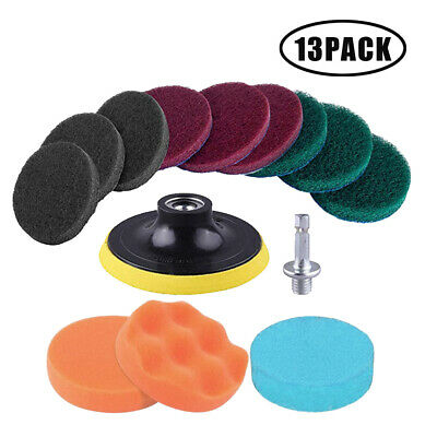13pc/Set Pad Scouring 1/4  Shank Hex For Cloth Surface Cleaning Drill Polishing • 8.57£