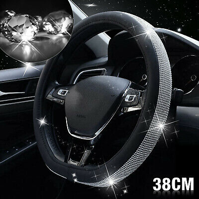 Car Steering Wheel Crystal Sparkled Diamond Cover PU Leather Skidproof Bling • 8.89£