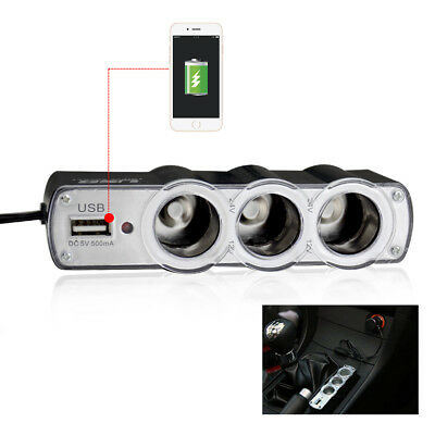 Triple 3 Way Car Cigarette Lighter Socket Splitter USB Charger Power Adapter • 4.98£