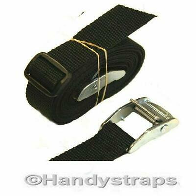 CAM BUCKLES Straps 2 X 25mm 1.5 Metre Black Luggage Trailer Tie Down CAR Roof Ra • 3.84£