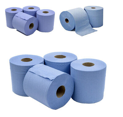 6 X Jumbo Workshop Hand Towels Rolls 2 Ply Centre Feed Wipes Embossed Tissue • 10.99£
