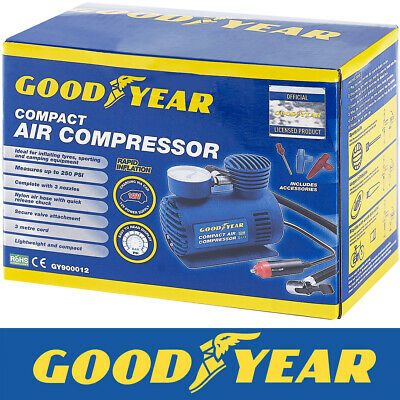 Goodyear Car Tyre Air Compressor Pump Bike Cycle Compact 3m Cord 12V Inflator • 14.99£