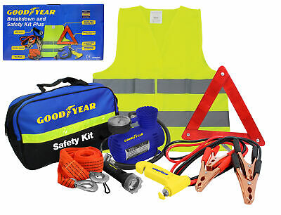 Goodyear 8pc Vehicle Safety Kit Tow Rope Jump Lead Torch Air Compressor Triangle • 25.49£