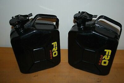 2 X Fro Systems 5 Litre Metal Jerry/Petrol Cans In Good Used Condition • 18£