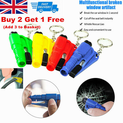 3 In1 Emergency Escape Car Glass Hammer Window Breaker Seat Belt Cutter Key Ring • 3.99£