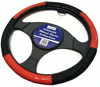 Red And Black Steering Wheel Cover Glove Protector For Car / Van Soft Grip • 6.99£