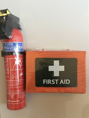 First Aid Kit 49 Piece And 600g. Powder Fire Extinguisher Home Office Car Taxi • 19£