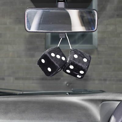 Car Black & White Soft Spotty Furry Fluffy Hanging Mirror Dice Set Of 2 • 5.49£