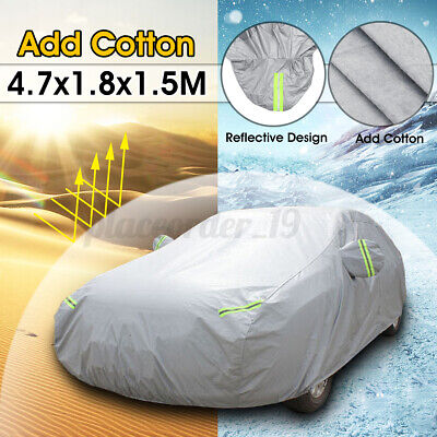 Heavy Duty M Full Car Cover Cotton Waterproof Breathable Rain Protection Outdoor • 19.46£