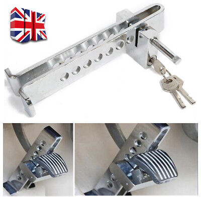 Silver Auto Car Brake Clutch Pedal Lock Stainless Anti-Theft Strong Security • 9.59£