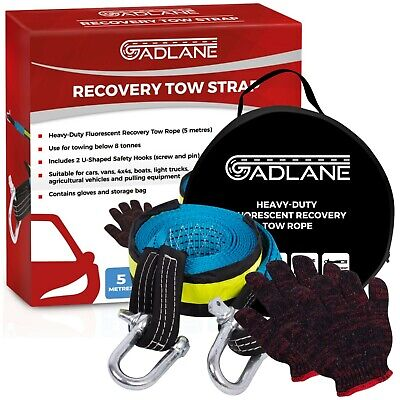 GADLANE High Strength Tow Rope Breakdown Recovery Two Safety Hooks 8 Tonne 5m  • 10.99£