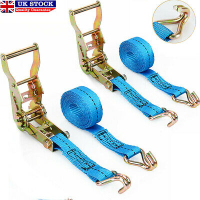 Ratchet Cargo Tie Down Straps 2 X 5m X 25mm 1.5 Tons Claw Lorry Lashing • 8.49£