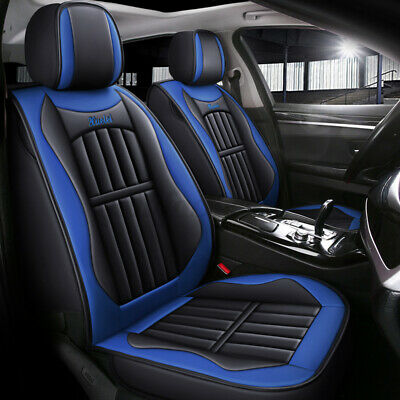 Deluxe Edition Seat Cover Blue + Black PU Leather Car Seat Cover For All Seasons • 20.99£