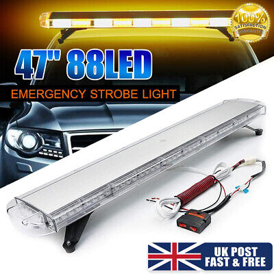 88 LED Amber Strobe Light Bar Emergency Beacon Warning Flashing Lamp Controller • 88.98£
