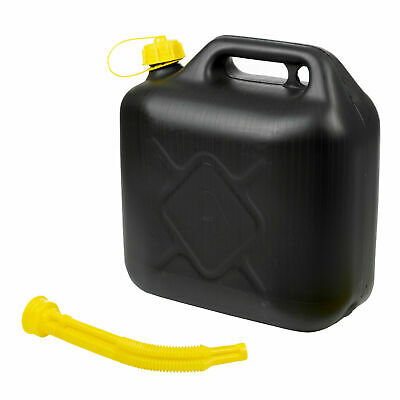 10l Black Plastic Fuel Jerry Can Petrol Diesel With Spout Water 10 Litre • 7.99£