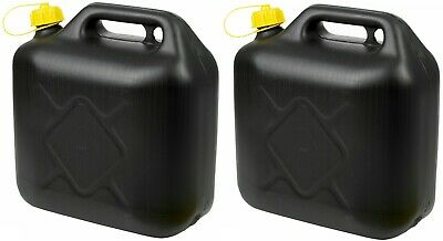2x 10L BLACK PLASTIC FUEL JERRY CAN PETROL DIESEL WITH SPOUT WATER 10 LITRE • 12.45£