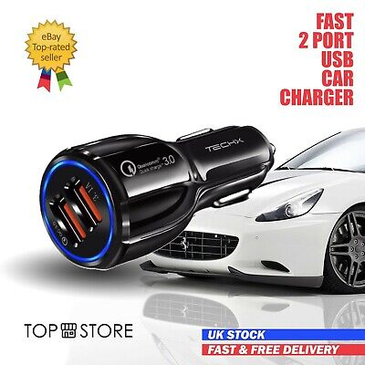 FAST CAR CHARGER 2-USB Port For Iphone Samsung Huawei Universal Socket Adapter • 4.99£