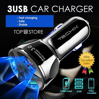 FAST CAR CHARGER 3 USB Port For Iphone Samsung Huawei Universal Socket Adapter • 5.49£