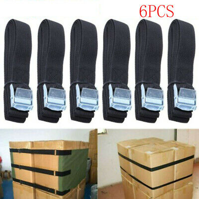 Set Of 6 Lashing Straps Cargo Luggage Tie Down Cam Buckle Roof Rack 2.5m X 25mm • 6.79£