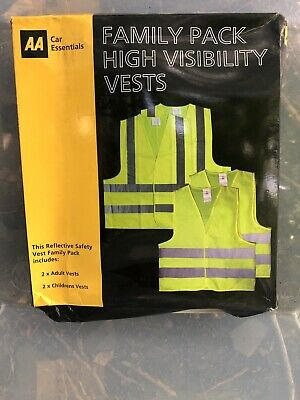 AA Family Pack High Visibility Safety Vests Breakdown  Motorcycle 2 Adult 2 Kids • 4.99£