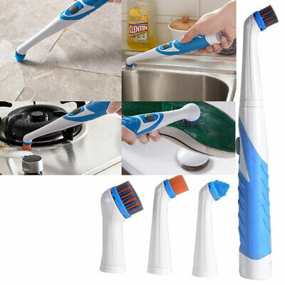 4 In 1 Sonic Scrubber Electric Cleaning Brush House Help Kitchen Bathroom Car • 9.99£