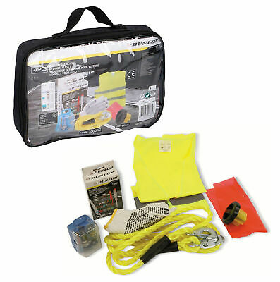 Dunlop 40pc Car Emergency Kit - Tow Rope / Fuses / Bulbs / High Vis / Gloves • 9.99£