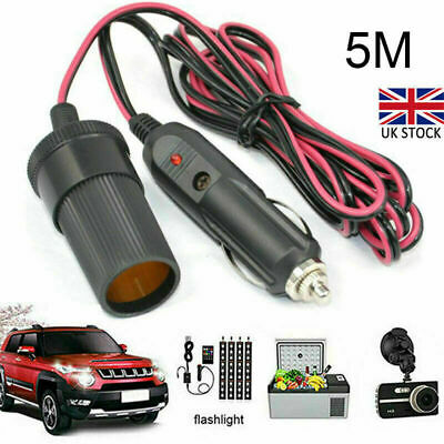 5M Car Cigarette Lighter 12V Extension Cable Adapter Socket Charger Lead UK • 7.95£