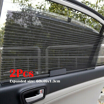 2Pcs Sun Shade Side Rear Window Sun-shading Curtain Car Retractable Roller Blind • 8.55£