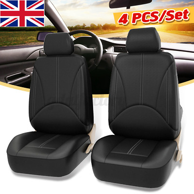 4PCS Universal Car Seat Cover Front Cushion Pad Protector Breathable PU Leather • 13.96£