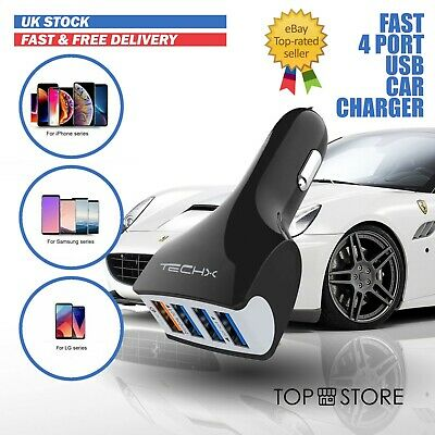 Fast Car Charger 4-Port USB 7.5A For IPhone IPad Samsung Huawei LG Universal • 4.99£