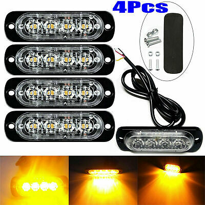 4x 4 LED Amber Recovery Strobe Flashing Grille Lightbar Lamp Truck Beacon Light • 10.95£