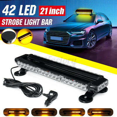 54 LED Amber Emergency Warning Strobe Recover Light Bar Truck Flashing Beacon • 53.99£