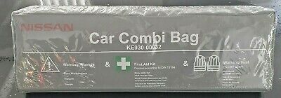 Nissan Juke Micra Note Qashqai Car Combi Bag First Aid Safety Kit With Vest NEW • 9.99£